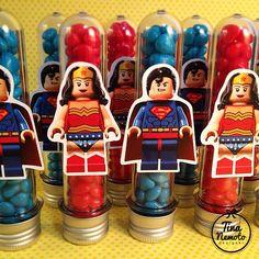Tubetes com confetes de chocolate! Lego Party!
