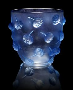 René Lalique 'Pivoines' a Vase, design 1937 frosted glass, heightened with blue staining 16.8cm high