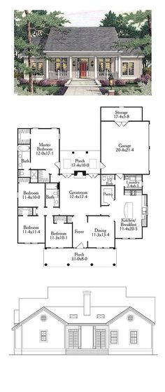 Colonial Style Cool House Plan Id: Total Living Area: 1997 Sq., 4 Bedrooms And Bathrooms. Best House Plans, Dream House Plans, Small House Plans, House Floor Plans, 4 Bedroom House Plans, Garage Bedroom, Three Bedroom House, Cottage Floor Plans, House Rooms