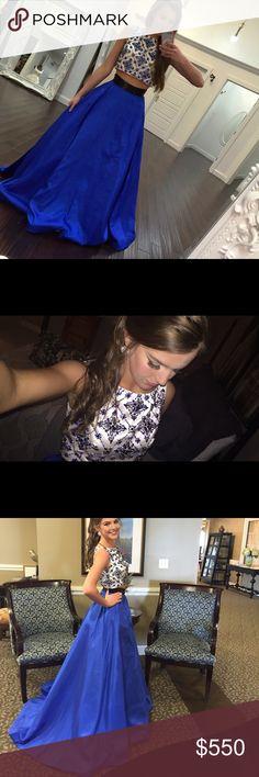 Sherri Hill Prom Dress Royal Blue two piece• Jeweled top and waist band• Has Pockets! Sherri Hill Dresses Prom