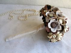 Vintage Button & Paper Flowers Wedding Bridal by iheartbuttonsuk