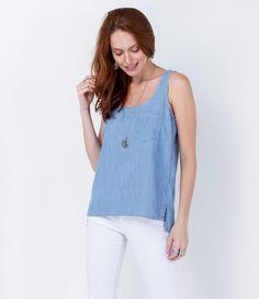 Regata feminina  Marca: Marfinno  Tecido: jeans   Composição: 67% viscose e 33% algodão  Modelo veste tamanho: P     Medidas da Modelo:   Altura: 1,75  Busto: 88  Cintura: 64  Quadril:88     COLEÇÃO VERÃO 2016     Veja outras opções de    regatas femininas.