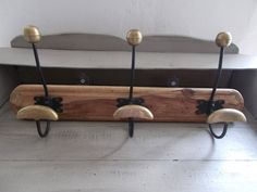 Authentic traditional magnificent Bronze French Coat Hooks mounted on a lovely old piece of wood, a lovely architectural piece, very sturdy by MaisonbrocanteFrance on Etsy