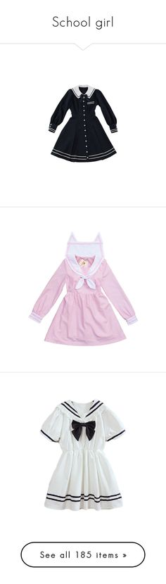 """""""School girl"""" by bandaidkid ❤ liked on Polyvore featuring dresses, lolita, op, pink, clothing - dresses, clothing - ls dresses, pink dress, clothing - ss dresses, costumes and red"""