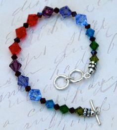 Swavorski Crystal Bracelet Rainbow Silver by MyBaubleEmporium, $62.00