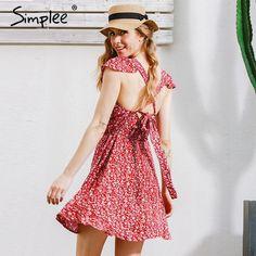 Backless Floral Print Short Dress
