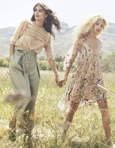 Taylor Hill poses in H&M ruffled blouse and sack pants. Frederikke Sofie wears floral embroidered dress in H&M's spring 2017 campaign.