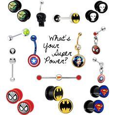 Super hero plugs, belly button rings, etc. www.bodycandy.com