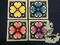 4 Flower Coasters Hama Beads by Xamolandia