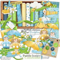 Digital scrapbooking rain umbrella and card making rain umbrella kit.  Stay dry...stay inside and create!ha,ha FQB - Puddle Jumpin' Collection