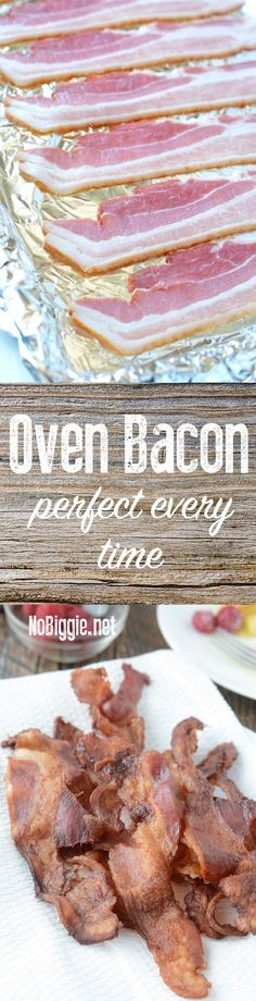 Cook a big batch of bacon all at once with this easy mess free method. Oven Bacon, Pork Bacon, Bacon In The Oven, Breakfast Items, Breakfast Dishes, Breakfast Recipes, Pork Recipes, Low Carb Recipes, Cooking Recipes