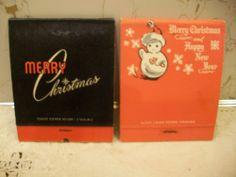 Vintage Christmas Large Candle Matchbooks-1951 BULOVA CHALET & Snowman