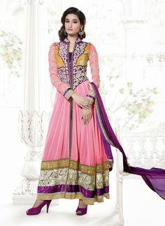 $123 Refreshing Pink Ankle Length Anarkali Suit