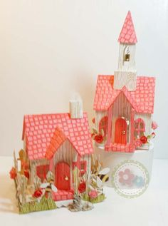 RoseVillage .. Made with the Village Dwelling & Bell Tower Die by Tim Holtz