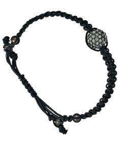 Blu Bijoux Black Crystal Paved Shamballa Bracelet