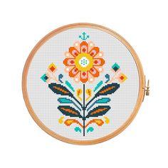 Traditional polish folk flower - modern cross stitch pattern - pillow flower cross stitch pattern geometric
