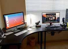 IKEA LINNMON/ADILS, which allows you to select the perfect table and leg pairing for Home Office. The wide variety of minimalist style office desk available Ikea Gaming Desk, Ikea Corner Desk, L Shaped Corner Desk, Ikea Desk, Gaming Computer, Gaming Setup, Setup Desk, Computer Desk Setup, Desk Layout