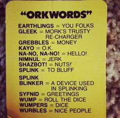 "Mork&Mindy -""ORKWORDS"""