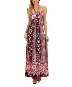 Love this Pink Scarf Silk-Blend Halter Maxi Dress on #zulily! #zulilyfinds