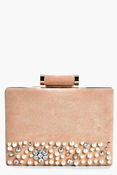 boohoo Mae Boutique Pearl Velvet Box Clutch Bag