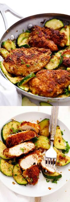 HEALTHY RECIPES CRISPY PARMESAN GARLIC CHICKEN WITH ZUCCHINI | I love this crispy parmesan garlic chicken with zucchini. Hust looking at it makes me crave for this delicious food. I pinned it on my pinterest account. Thanks for sharing your recipe with us.  Ingredients    2 Chicken Breasts, sliced in half, or 4 thin chicken breasts 8 Tablespoons butter,... #Chicken, #Crispy, #Delicious, #FoodRecipes, #Garlic, #HealthyRecipes, #Parmesan, #Zucchini