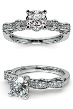 This whimsical diamond engagement ring in white gold features a double ribbon inspired by Cinderella. Sixteen pave round cut diamonds and two bezel set surprise diamonds with approximately 1/4 carat total diamond weight accent your choice of center stone.