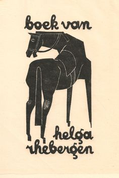 Ex libris Helga Rhebergen by Jan Battermann (Dutch, 1909-1999) - 1955