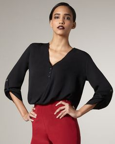 What Goes Around Comes Around - Vanessa Silk Henley Top