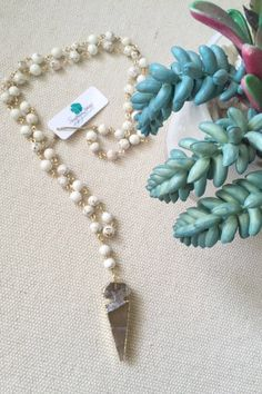Rosary Style Ivory Magnesite with Quartz Arrowhead