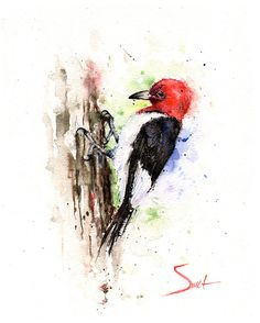 RED HEADED WOODPECKER - watercolor woodpecker painting, woodpecker art, woodpecker decor, woodpecker print, bird gift, bird lover gift