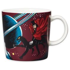 """This mysterious Moomin mug by Arabia from 2018 features the Hobgoblin and his panther. It's beautifully illustrated by Tove Slotte and the illustration can be seen in the original book """"Finn Family Moomintroll"""" by Tove Jansson. Moomin Shop, Moomin Mugs, Moomin Cartoon, Helsinki, Tove Jansson, Hobgoblin, Porcelain Mugs, Mug Cup, Valencia"""