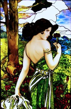 Alphonse Mucha inspired Carnation Girl hand painted by Jim Berberich, stained glass work created by Bogenrief Studios.