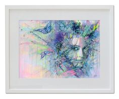 Butterfly Girl - hand colored art print  Lykke Steenbach Josephsen