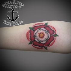 Tudor Rose Tattoo with color outline by Tate Dean of Mom and Pop Tattoo and Piecing Inc. at 288 Plymouth Ave Fall River MA 508-SKIN-ART