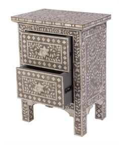 bedside table, with mother of pearl inlay