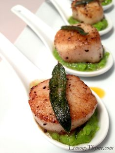 Pan Seared Sage Brown Butter Scallops {with Sweet Pea Puree}