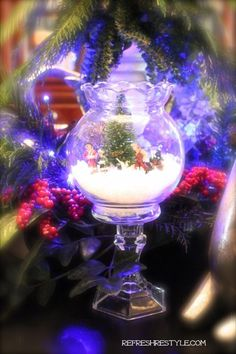 Made with stuff from Dollar Tree. Easy to make! Mini Snow Globe - DIY - Refresh Restyle