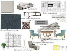 Media, Library #interiordesign #moodboard created on www.sampleboard.com
