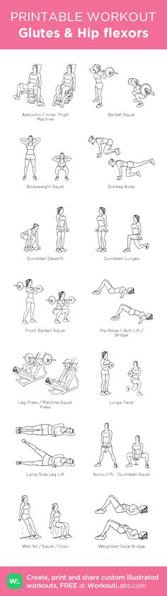 """Glutes & Hip flexors: my visual workout created at <a href=""""http://WorkoutLabs.com"""" rel=""""nofollow"""" target=""""_blank"""">WorkoutLabs.com</a> • Click through to customize and download as a FREE PDF! <a class=""""pintag searchlink"""" data-query=""""%23customworkout"""" data-type=""""hashtag"""" href=""""/search/?q=%23customworkout&rs=hashtag"""" rel=""""nofollow"""" title=""""#customworkout search Pinterest"""">#customworkout</a>"""