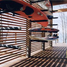 Surfboard shed.use same idea for kayak or canoe storage Surfboard Storage, Surfboard Rack, Kayak Storage Rack, Boat Storage, Shed Storage, Storage Ideas, Vehicle Storage, Trailer Storage, Kayak Rack