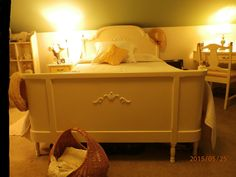 Vintage bed from my childhood. French Country Bedrooms, Country Cottages, Bedroom Vintage, Hope Chest, Attic, Storage Chest, Childhood, Cabinet, Space