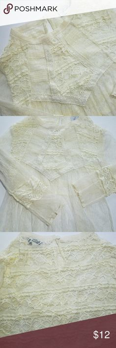Lace boho top Feminine lace shirt with a bohemian feel  Ivory color  EUC  Please check out my closet for other fabulous items! Reasonable offers welcome. Tops