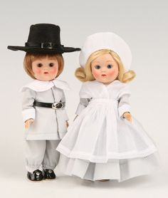 Vogue John Alden & Priscilla Ginny Vintage Repro Dolls, 2009 on eBid United States. They are available for the fixed price amount of $120.00, which is below the original price of $130.00. Shipping is extra. These are perfect for Thanksgiving decorations.