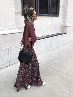 45 Ideas skirt black outfit winter bags for 2019 Maxi Skirt Outfits, Maxi Skirt Boho, Winter Dress Outfits, Floral Maxi Dress, Boho Outfits, Casual Outfits, Fashion Outfits, Outfit Winter, Maxi Skirts