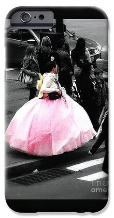 Black And White Photo With Highlight Of Pink Ball Gown (actual Color) IPhone 6s Case featuring the photograph Gown Of Pink by Susan Garren