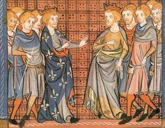 Philippe Auguste (1165 - 1223) et Richard I° se querellent à Messine (Chroniques de France, BnF)- En 1219, Philippe Auguste négociait avec les Lusignan, en 1222, la guerre reprend en Poitou, et les Sires de Lusignan et de Parthenay s'arment.
