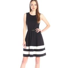 SALE! Ellen Tracy Black White Fit & Flare Dress! Absolutely adorable little number! Very flattering and perfect to wear to work or out to a nicer baby/bridal shower to look super classic! Ellen Tracy Dresses Midi