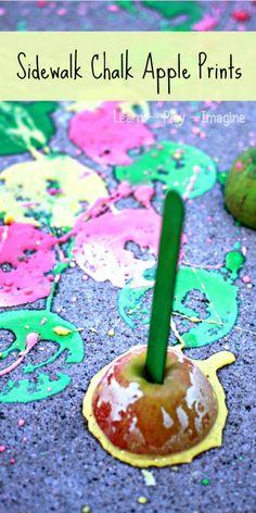 Apple printing with apple scented sidewalk chalk paint.  Bonus:  it erupts!