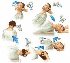 The Epley manoeuvre for benign paroxysmal positional vertigo Vertigo Exercises, Face Exercises, Cardio Yoga, Epley Maneuver, Ear Anatomy, Vestibular System, Physical Therapy Exercises, Medical Coding, Vertigo Relief