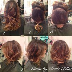 Faux Bob Hairstyle How To: 1. Style with a curling iron into a loose wave 2. Sectioned the top and and sides of hair and clip out of the way. 3. Use a small rubber elastic and tie hair into a low pony tail(the longer your hair is the further down it will be) 4. Hold the bottom of the ponytail and flip under, tuck up inside, using bobby pins secure in place 5. Take down the clip, pin in any long stray hairs & mold the front to your desired style ! #glambytoriebliss @Torie Bliss